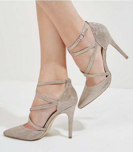 Gold Glitter Cross Strap Pointed Heels | New Look