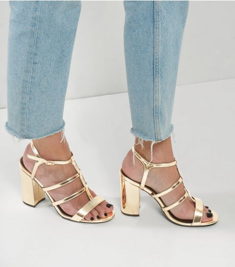 Gold Metallic Block Heel Gladiator Sandals | New Look