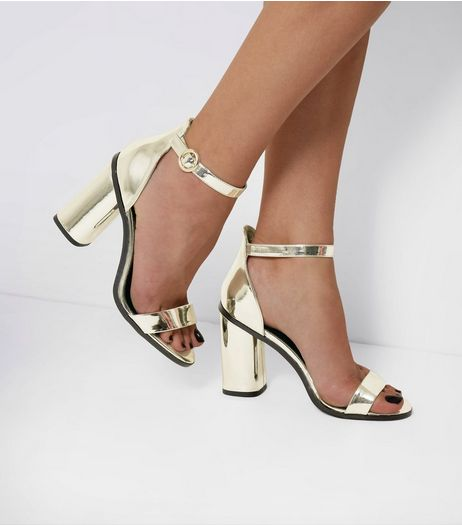 Gold Ankle Strap Block Heel Sandals | New Look