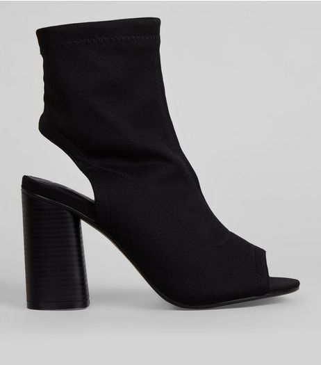 Wide Fit Peep Toe Sock Boots | New Look