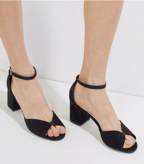 Black Comfort Suedette Peep Toe Heels | New Look