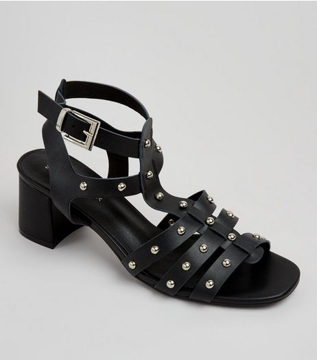 Black Stud Gladiator Sandals | New Look