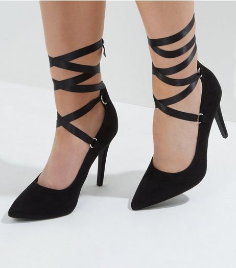 Wide Fit Black Suedette Ribbon Tie Up Heels | New Look