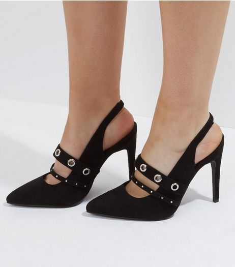 Wide Fit Black Suedette Eyelet Strap Heels | New Look
