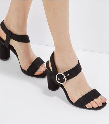 Black Suedette Wide Buckle Strap Heeled Sandals | New Look