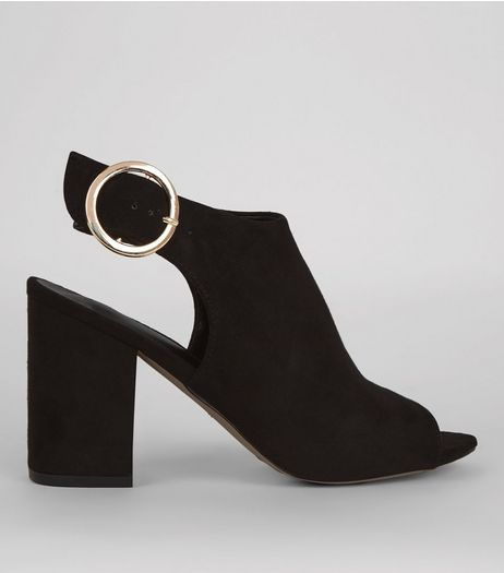 Black Suedette Buckle Strap Sling Back Heels | New Look