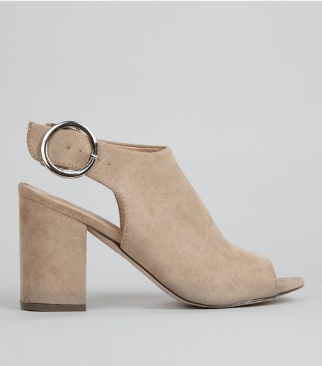 Mink Suedette Buckle Strap Sling Back Heels | New Look