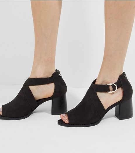 Black Suedette Cut Out Side Block Heels | New Look