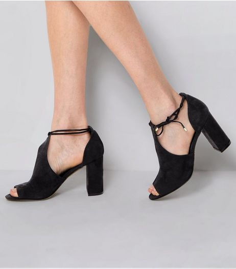 Black Suedette Open Toe Tie Side Block Heels  | New Look