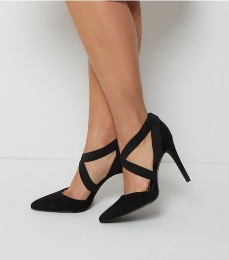 Wide Fit Black Suedette Elasticated Strap Heels  | New Look
