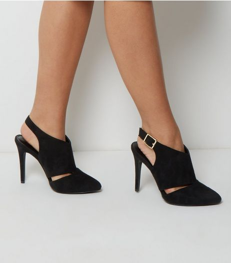 Wide Fit Black Suedette Cut Out Side Heels | New Look