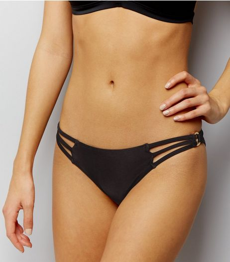 Black Strappy Ring Detail Bikini Bottoms | New Look