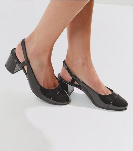 Wide Fit Black Patent Sling Back Mini Block Heels | New Look