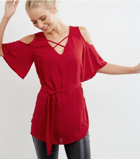 Red Lattice Front Cold Shoulder Belted Top  | New Look