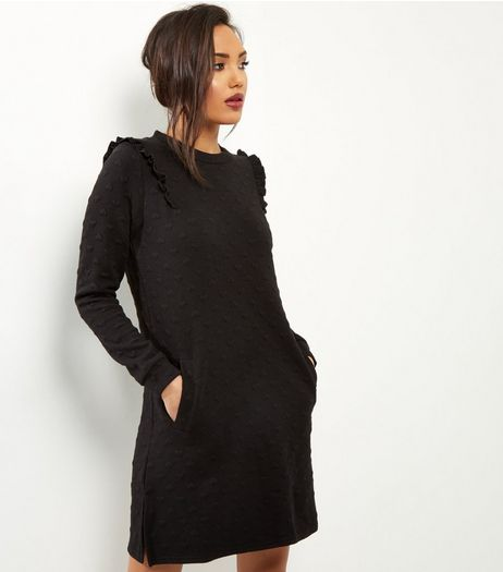 QED Black Heart Embossed Frill Shoulder Dress | New Look