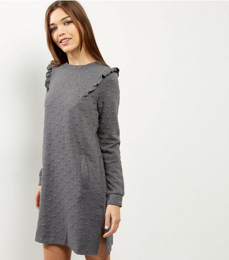 QED Dark Grey Heart Embossed Frill Shoulder Dress | New Look