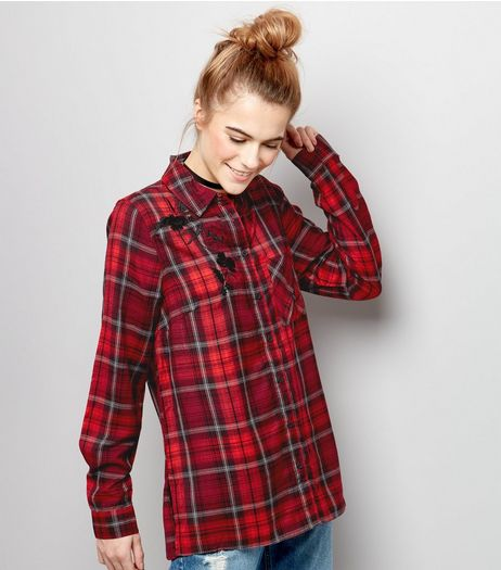 Red Check Long Sleeve Shirt  | New Look
