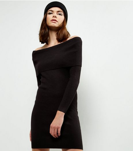 QED Black Ribbed Bardot Neck Dress | New Look