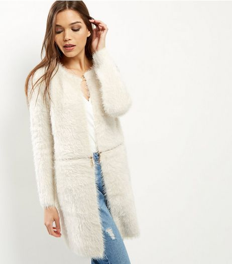 QED Cream Fluffy Zip Waist Cardigan | New Look