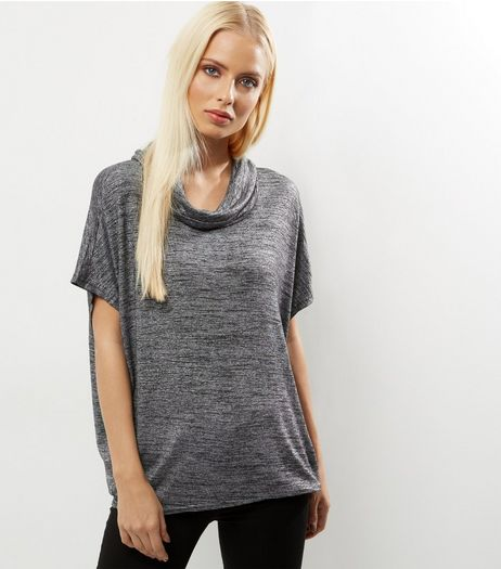 QED Black Metallic Cowl Neck Top  | New Look