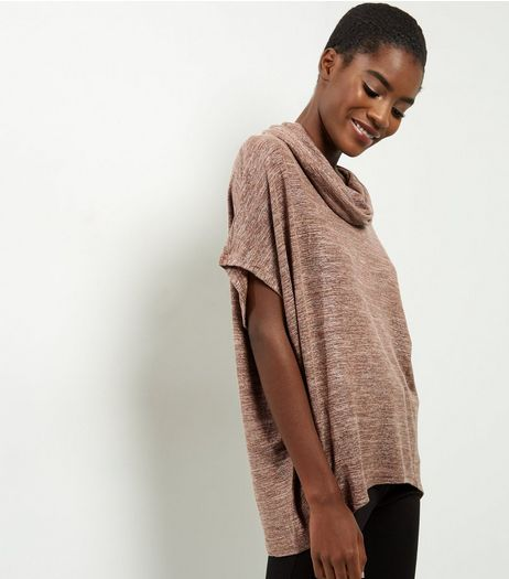 QED Light Brown Metallic Cowl Neck Top | New Look