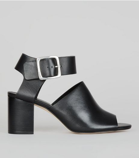 Black Leather Peep Toe Buckle Strap Heels | New Look
