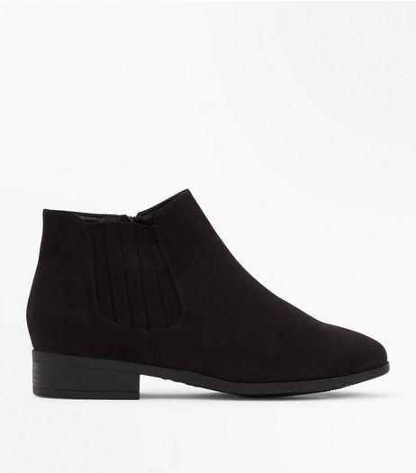 Wide Fit Black Suedette Chelsea Boots | New Look