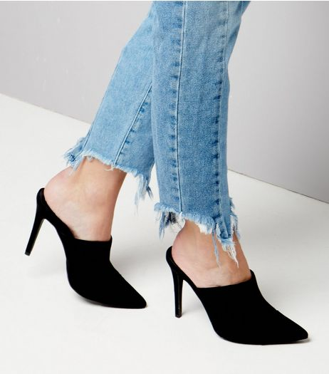 Black Suedette Pointed Heeled Mules | New Look