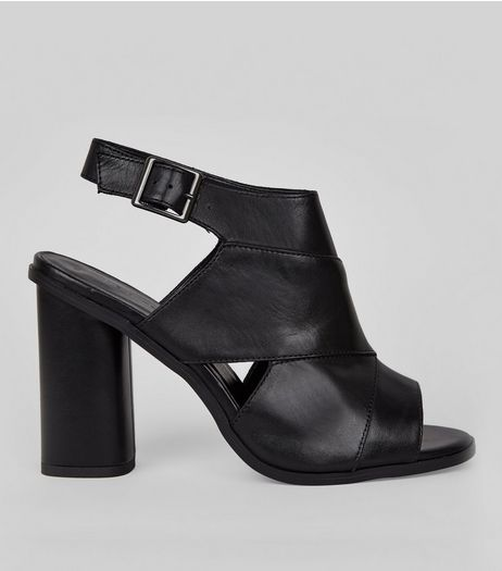 Black Leather Peep Toe Heels | New Look