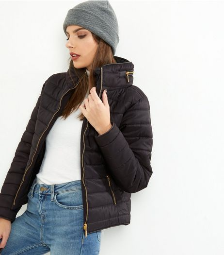 Cameo Rose Black Hidden Hood Padded Puffer Jacket  | New Look