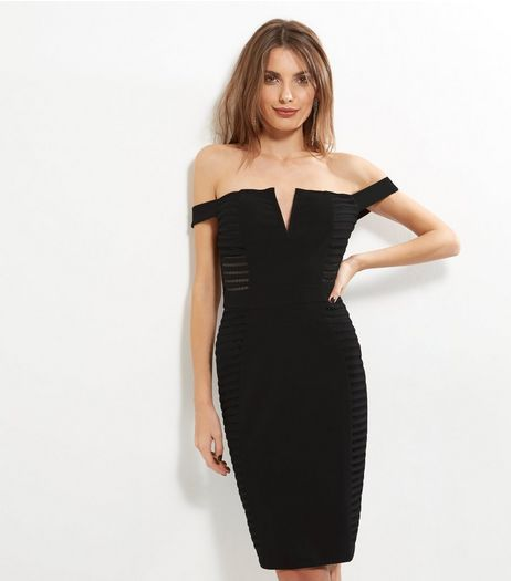 Parisian Black Bardot Neck Mesh Panel Dress | New Look