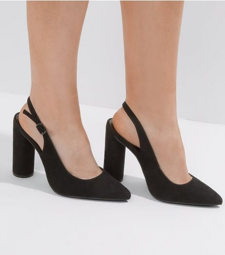 Wide Fit Suedette Sling Back Court Shoes | New Look