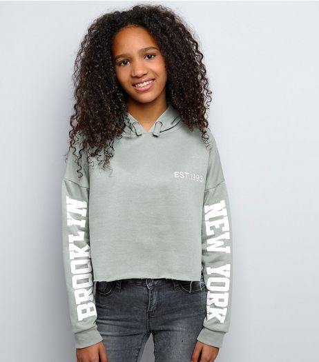 Teens Light Green Brooklyn Print Sleeve Cropped Hoodie | New Look