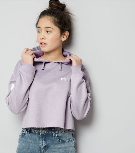 Teens Lilac Brooklyn Print Sleeve Cropped Hoodie | New Look