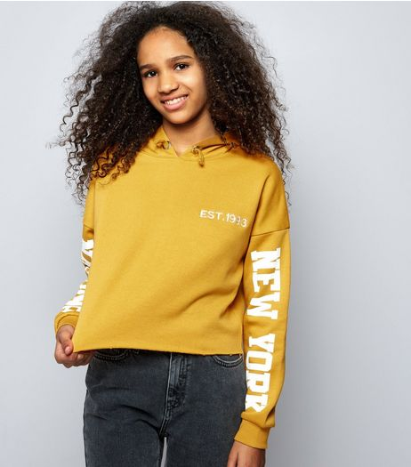 Teens Yellow Brooklyn Print Sleeve Cropped Hoodie | New Look