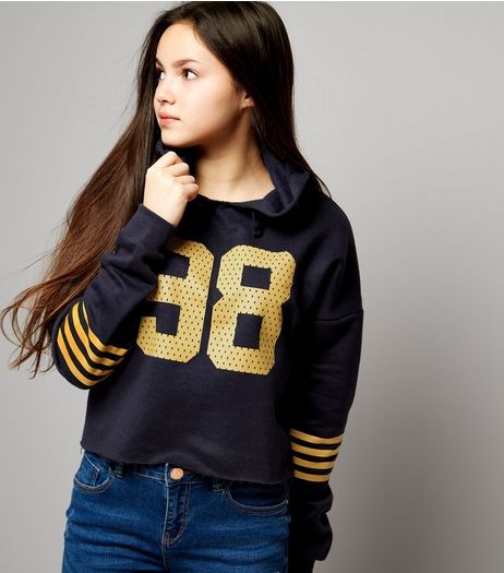 Teens Navy 98 Print Stripe Sleeve Hoodie | New Look