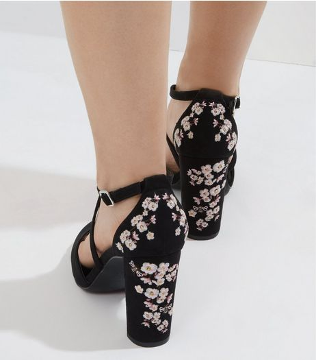 Wide Fit Black Suedette Floral Embroidered Heels | New Look