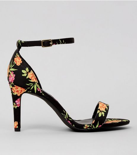 Black Floral Print Ankle Strap Heeled Sandals | New Look