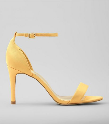 Wide Fit Yellow Satin Ankle Strap Heels | New Look