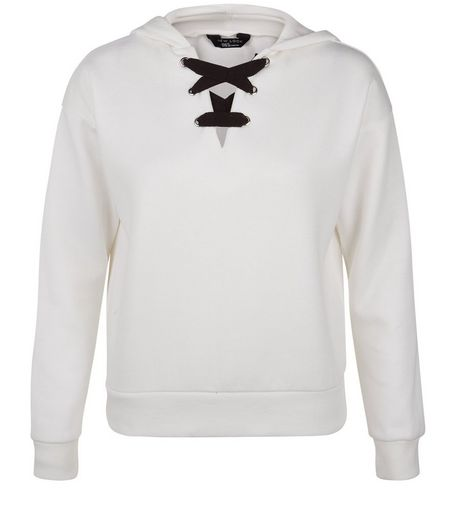Teens White Contrast Lace Up Hoodie | New Look
