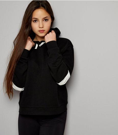 Teens Black Mesh Panel Sleeve Hoodie | New Look