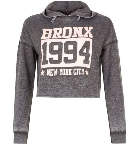 Teens Dark Grey Acid Wash Bronx 1994 Cropped Hoodie | New Look