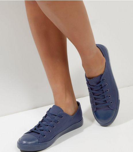 Navy Lace Up Plimsolls  | New Look
