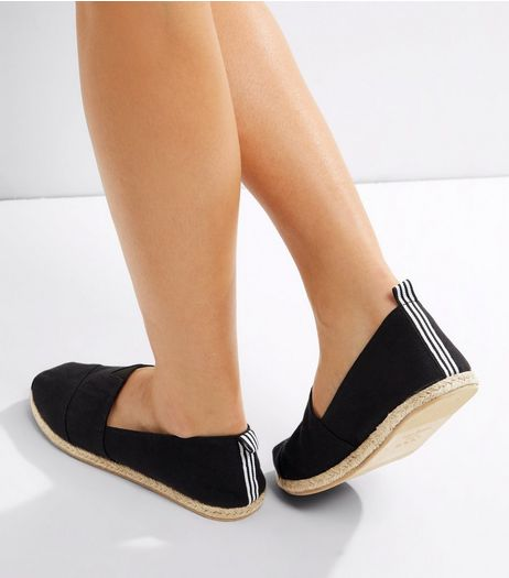 Black Contrast Tape Espadrilles | New Look