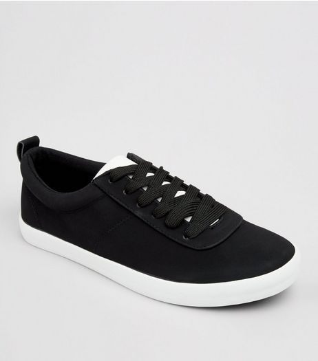 Black Contrast Trim Lace Up Trainers | New Look