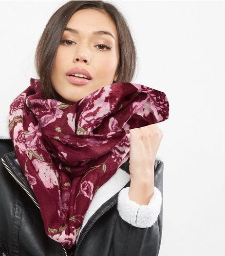 Dark Red Floral Print Snood | New Look