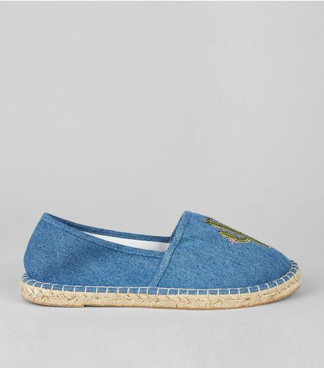 Blue Cactus Embroidered Espadrilles | New Look