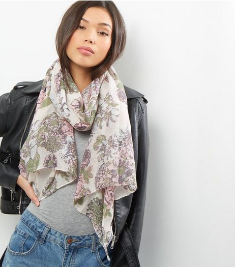 White Floral Print Longline Scarf  | New Look