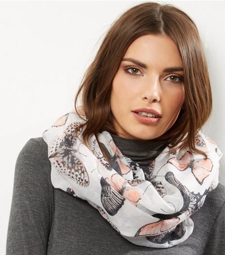 White Butterly Print Snood | New Look