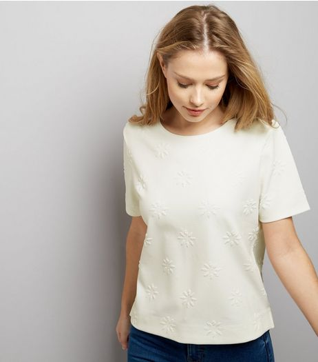 Cream Floral Jacquard Texture Button Back Top  | New Look